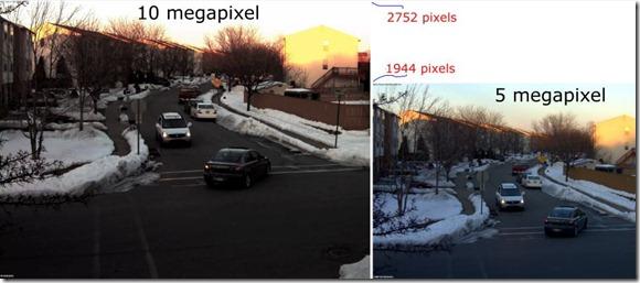 10 mega pixel surveillance camera compared to a 5MP
