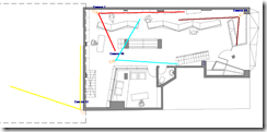 Non 3D CAD CCTV layout of shop and carpark
